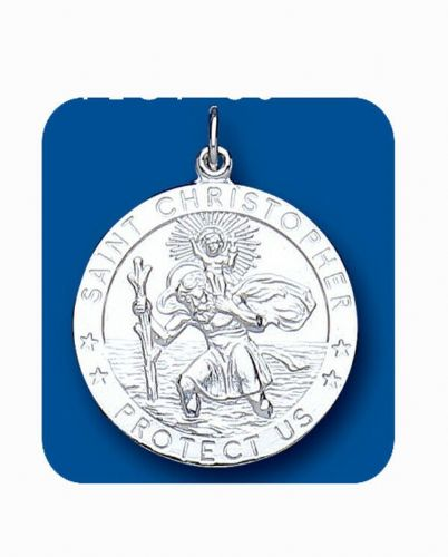 Saint Christopher Pendant Protect Us Sterling Silver Hallmark All Chain Lengths